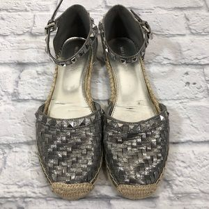 Marc Fisher espadrille shoes. Silver! Size 9-9.5